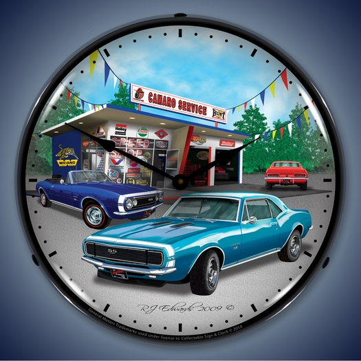 1967 Chevy Camaro Wall Clock, LED Lighted