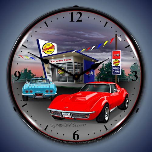 1968 Corvette LED Lighted Clock