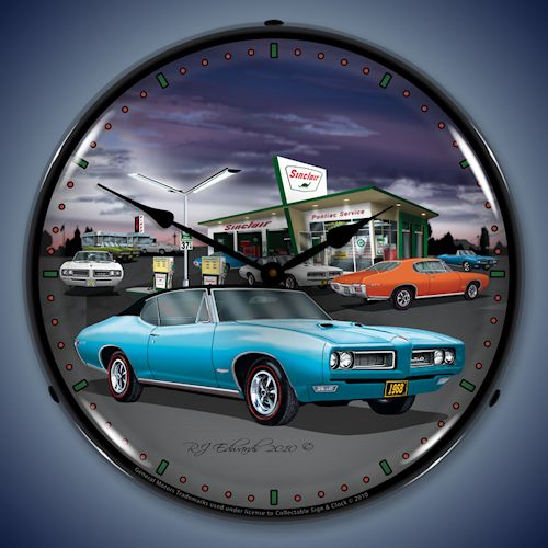 1968 GTO Sinclair Gas Station LED Lighted Clock
