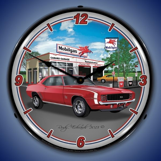 1969 RS SS Camaro Mobilgas Wall Clock, LED Lighted
