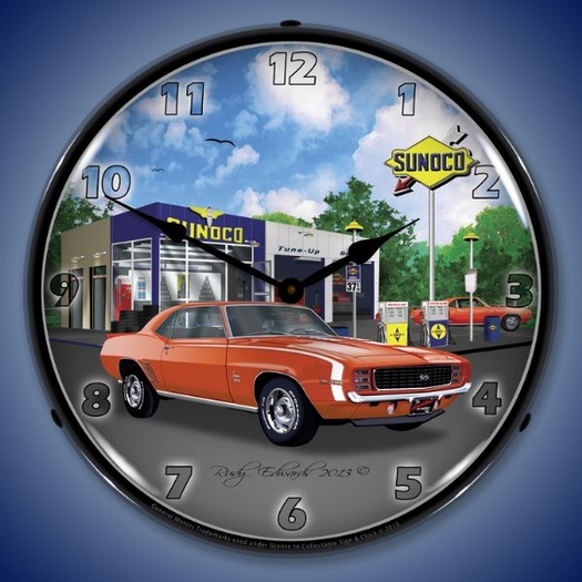 1969 RS SS Camaro Sunoco Wall Clock, LED Lighted
