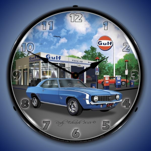 1969 SS Camaro Gulf Wall Clock, LED Lighted