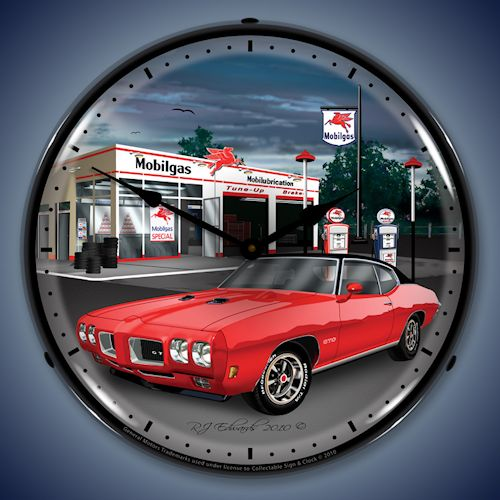 1970 GTO Mobil Gas Station LED Lighted Clock