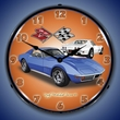 1971 Corvette Stingray (Blue) Wall Clock, LED Lighted