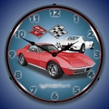 1971 Corvette Stingray (Red) Wall Clock, LED Lighted
