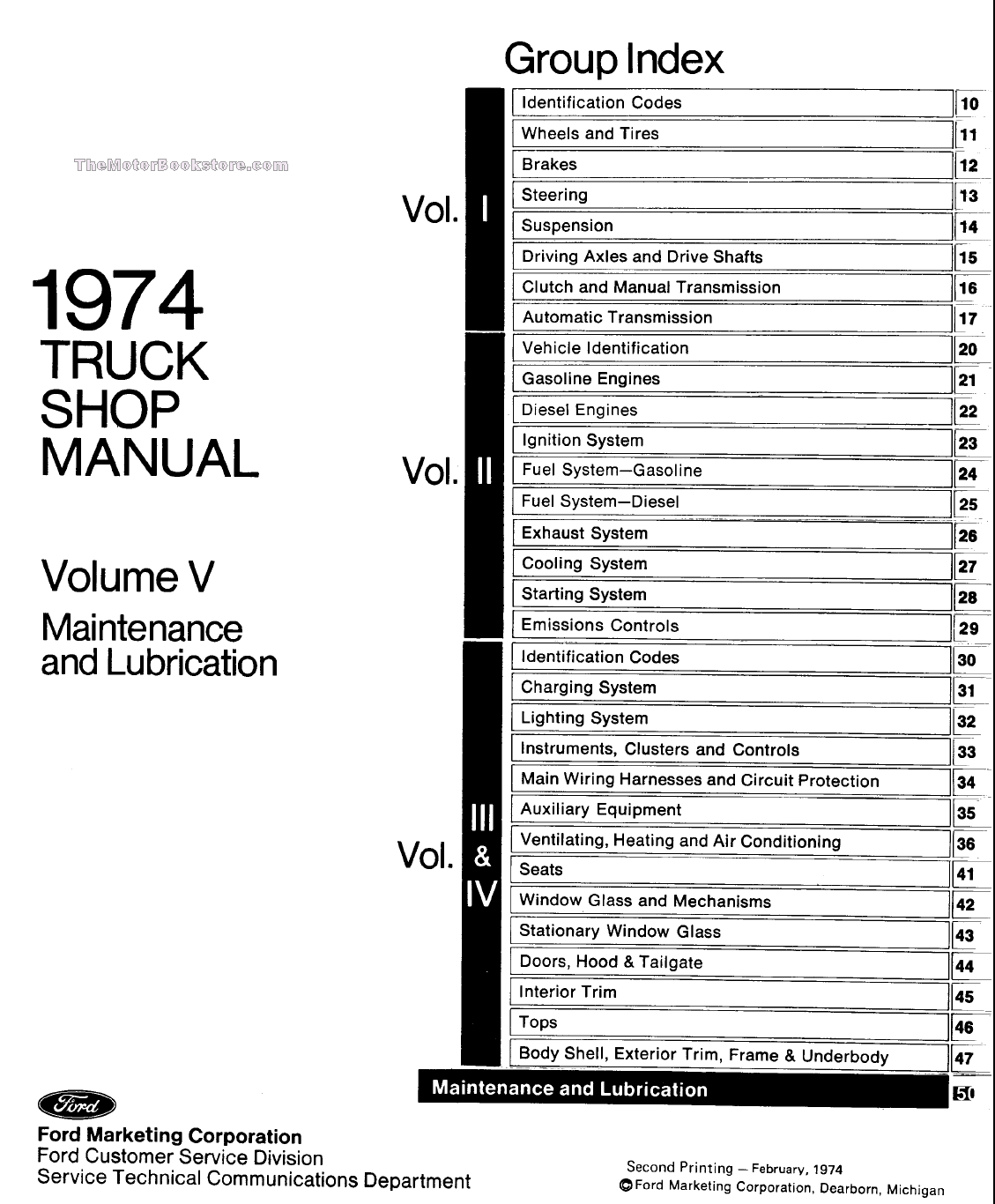 1974 ford truck factory shop manual