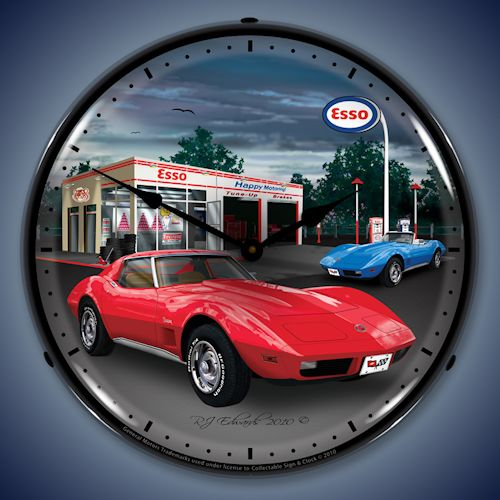 1974 Red Corvette Esso Gas Station LED Lighted Clock