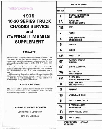1975 Chevrolet Light Duty Truck Service and Overhaul Manual Supplement