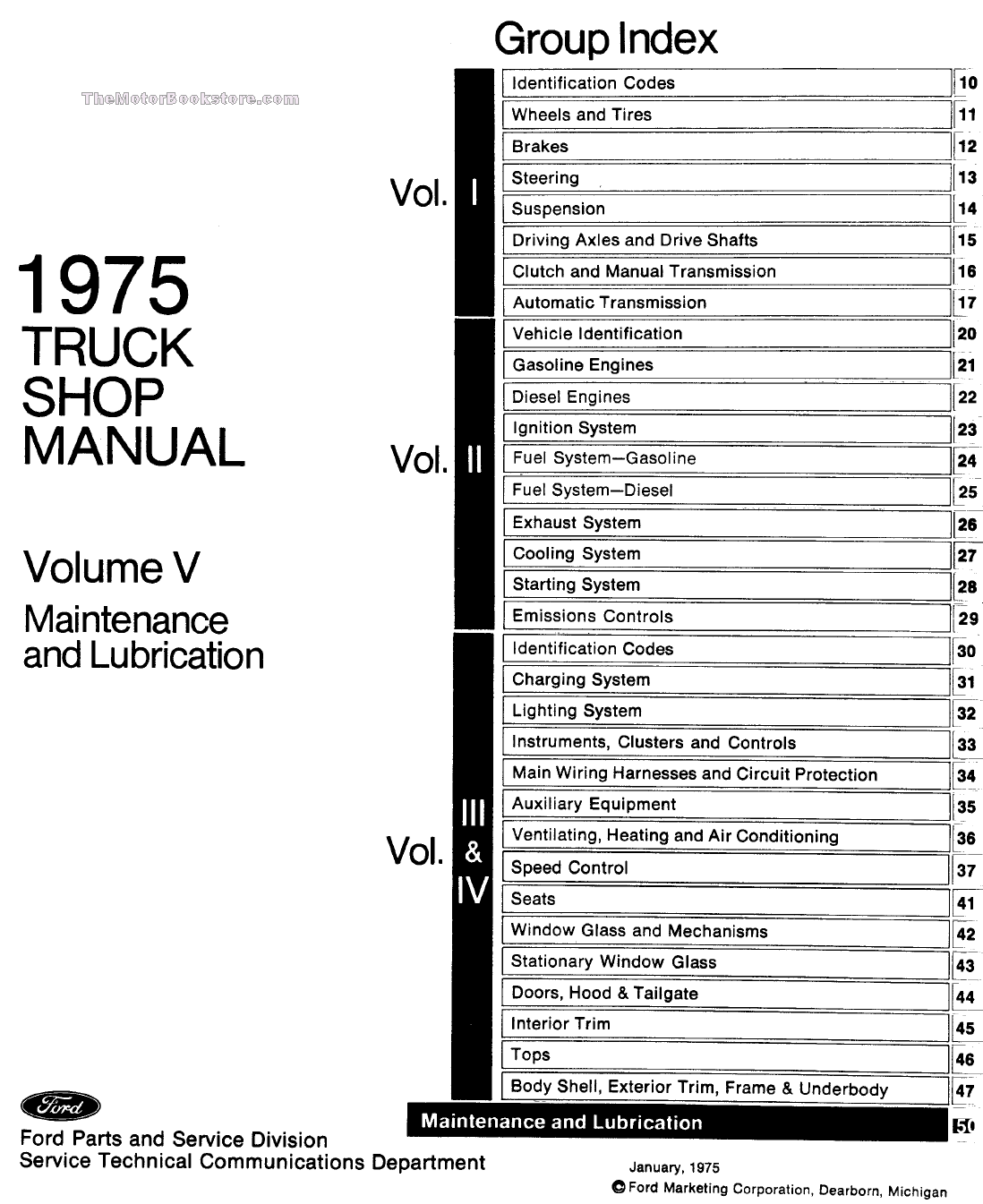 1975 Ford Truck Factory Shop Manual (5-Volume Set)