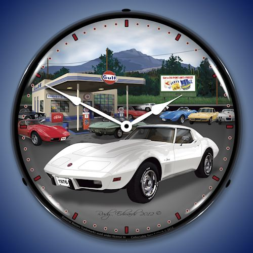 1976 Corvette and Gulf Gas Station LED Lighted Clock