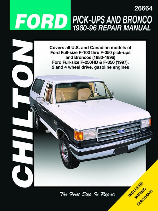 ford f 100 f 150 f 250 f 350 bronco service manual 1980 1996 rh themotorbookstore com Ford Ranger Repair Diagrams chilton ford truck repair manual