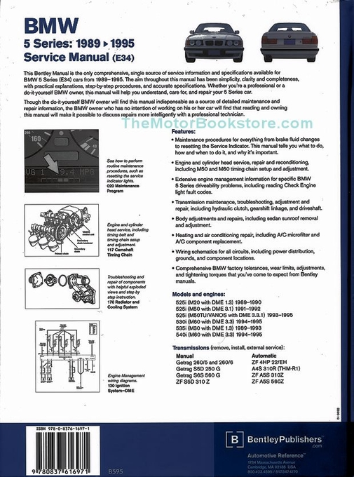 bmw 5 series e34 repair manual 525i 530i 535i 540i. Black Bedroom Furniture Sets. Home Design Ideas