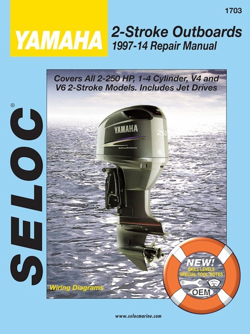 yamaha outboard repair manual 2 250 hp 2 stroke 1997 2014 seloc rh themotorbookstore com yamaha outboard service repair manual pdf yamaha outboard motor repair manual free