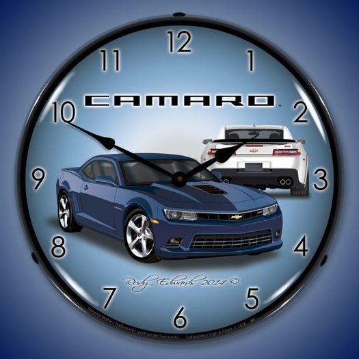 2014 SS Camaro Blue Ray Wall Clock, LED Lighted