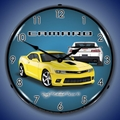 2014 SS Camaro Bright Yellow Clock, LED Lighted
