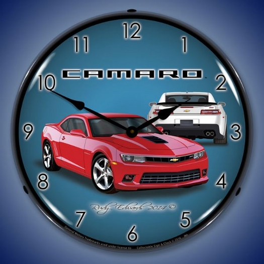 2014 SS Camaro Red Hot Wall Clock, LED Lighted