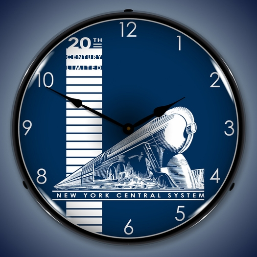 20th Century Railroad Wall Clock, LED Lighted