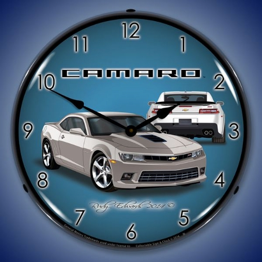 2104 SS Camaro Silver Ice Wall Clock, LED Lighted