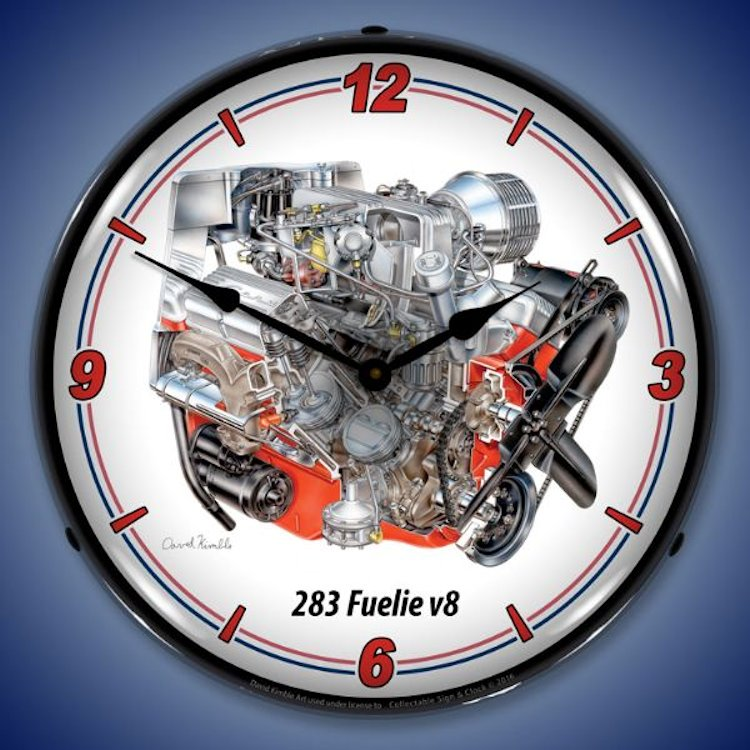 283 cid Fuelie V8 Engine Wall Clock, Lighted
