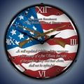 2nd Amendment Wall Clock, LED Lighted