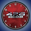 426 Hemi Logo Wall Clock, LED Lighted