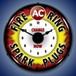 AC Fire Ring Spark Plugs Wall Clock, LED Lighted