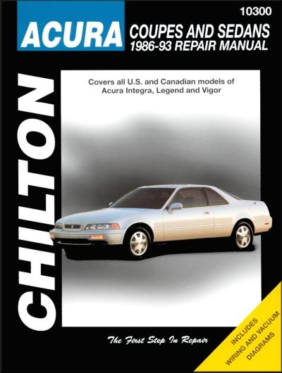 Acura Integra, Legend, Vigor Repair Manual 1986-1993