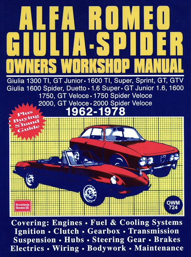 alfa romeo giulia  spider repair   service manual 1962 1978 alfa romeo brera repair manual alfa romeo gtv6 workshop manual