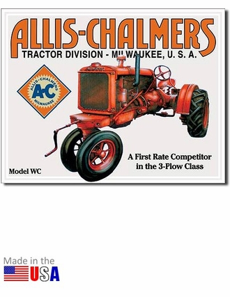 Allis chalmers tractor division model wc tin metal sign for Milwaukee motor vehicle department
