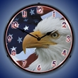 American Bald Eagle Wall Clock, LED Lighted