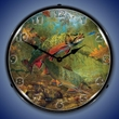 American Beauties Trout Wall Clock, LED Lighted
