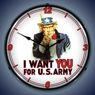 Americana and Military Wall Clocks, LED Lighted