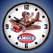 Amoco Aviation Wall Clock, LED Lighted: Airplane Theme