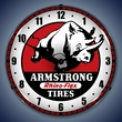 Armstrong Tire Wall Clock, LED Lighted