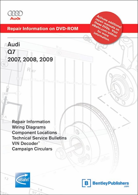 audi q7 repair manual 2007 2008 2009 on dvd rom bentley rh themotorbookstore com bentley publishers mini cooper service manual bentley publishers bmw z3 service manual