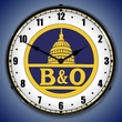 B&O Railroad 1 Wall Clock, LED Lighted