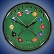 Billiards Wall Clock, LED Lighted: Sports