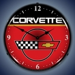 C4 Corvette Logo LED Lighted Clock - Red