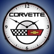 C4 Corvette Logo LED Lighted Clock - White