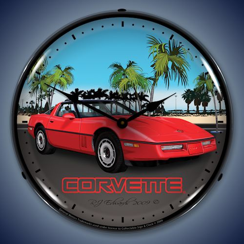 C4 Red Corvette LED Lighted Clock