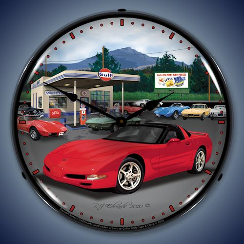 C5 Corvette & Gulf Gas Station LED Lighted Clock