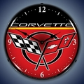 C5 Corvette Logo LED Lighted Clock - Red