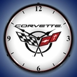 C5 Corvette Logo LED Lighted Clock - White