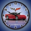 C6 Corvette LED Lighted Clock - Crystal Red
