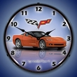 C6 Corvette LED Lighted Clock - Inferno Orange