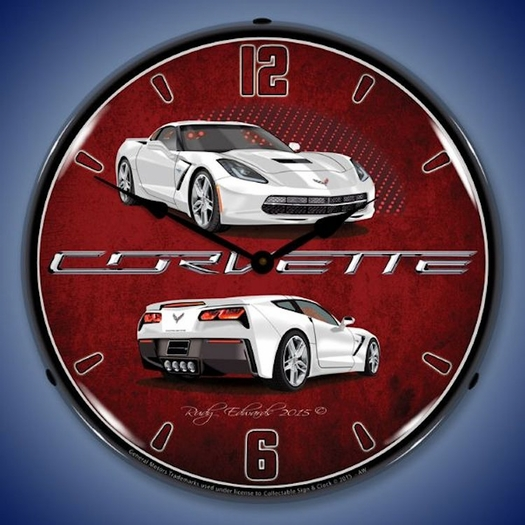 C7 Corvette LED Lighted Clock - Artic White