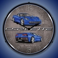 C7 Corvette LED Lighted Clock - Laguna Blue