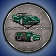 C7 Corvette LED Lighted Clock - Lime Rock Green