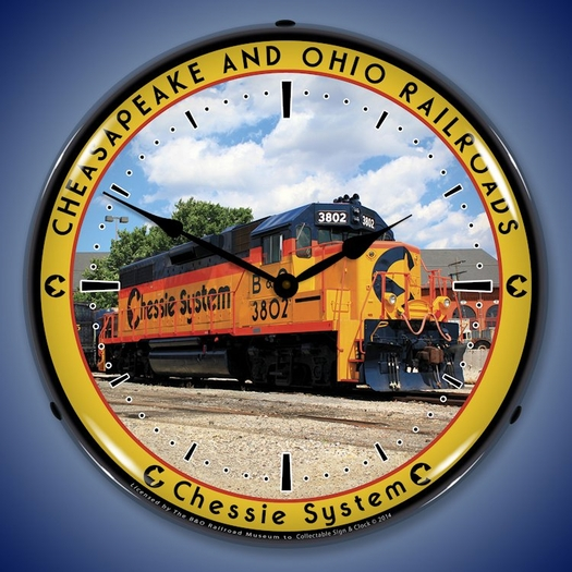 Chessie Railroad 3802 Wall Clock, LED Lighted