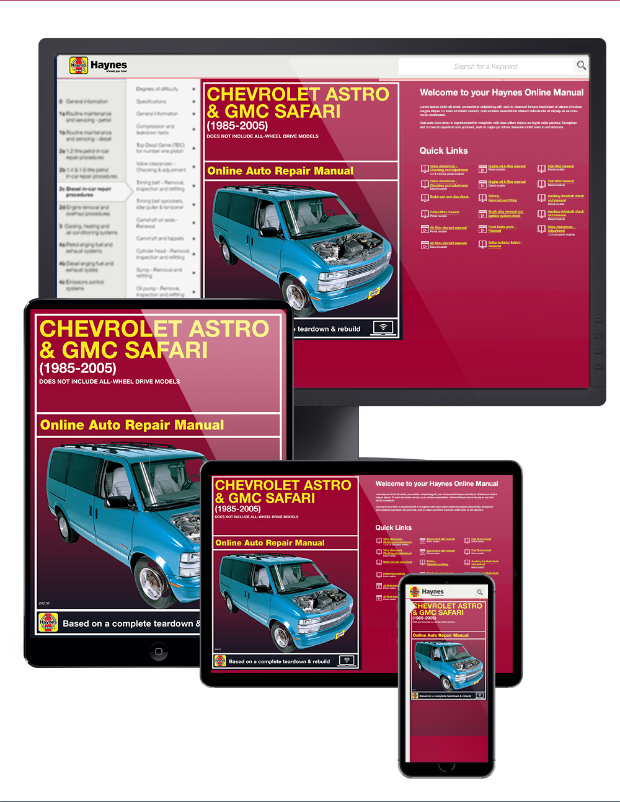 chevy astro gmc safari repair manual 1985 2005 haynes 24010 rh themotorbookstore com 2004 Astro Van Wiper Sprayers 2004 Chevrolet Astro Van Specifications